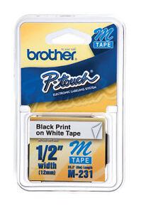 Brother-M231-M-1-2-034-Black-on-white-Ptouch-label-tape-PT65-PT70-PT80-PT85-PT90