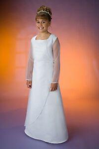 Kommunionskleid-Blumenmaedchenkleid-CR180-in-Weiss-Gr-158-164-mit-Bolero