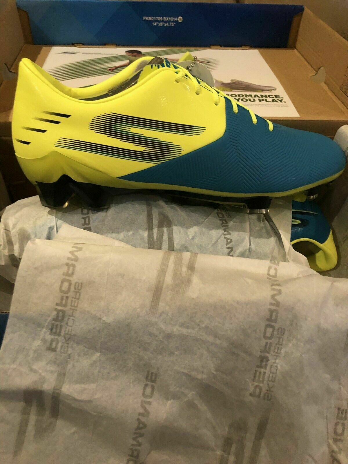 Skechers GO FG Reflex Soccer Cleats shoes Turquoise Lime Mens Size 8.5 New