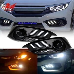 DRL LED Daytime Running Fog Light Turn Lamp  For Honda Civic Hatchback 2016-2019