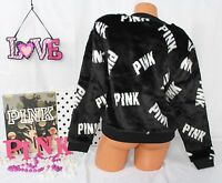 Victoria's Secret Pink Sz S Faux-fur Crew Pullover Black Shiny Fur, White Logo