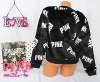 Victoria's Secret Pink Sz S Faux-fur Crew Pullover Black Shiny Fur, White Logo