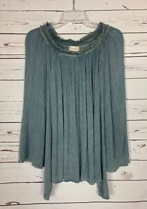 Altar-039-d-State-Women-039-s-S-Small-Blue-Boho-Festival-Bell-Sleeves-Tunic-Top-Shirt