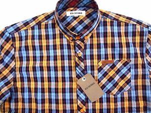 Ben Sherman Boys 14//16 LS Button Dress Shirt Tie Maroon Navy Plaid Check NWT