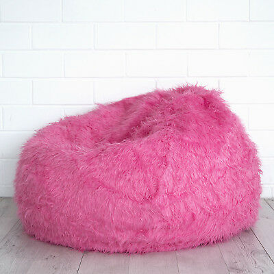 Remarkable Pink Fur Beanbag Cover Soft Bedroom Luxury Polo Bean Bag Lounge Movie Chair New Ebay Machost Co Dining Chair Design Ideas Machostcouk