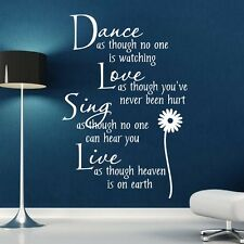 Wall Stickers Quotes Wall Art Dance Love Sing Live Wall Decor Decal SVIL12