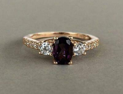 3ct Oval Cut Purple Amethyst Engagement Ring Solitaire 14k Yellow Gold Finish