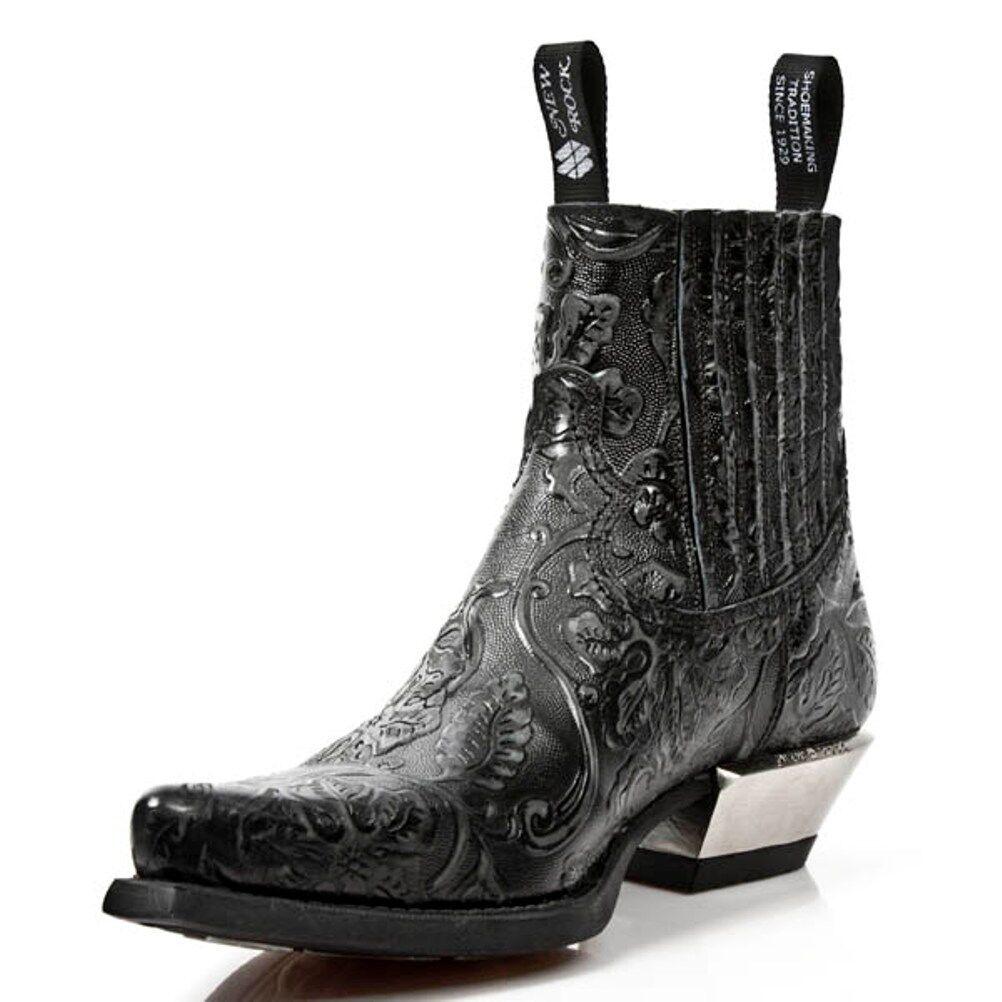 NEWROCK NEWROCK NEWROCK New Rock MENS Cowboy Boots Style M.7953 S21 Black Vintage Steel Heels 1cb8e6