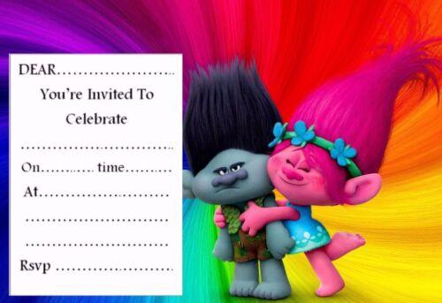 Trolls Invitaciones de Fiesta de Cumpleaños 10,20,30 o 40 Sobres