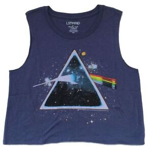 fff532123cedc Pink Floyd Starry Prism DSOTM Cut Off Girls Juniors Blue Tank Top ...