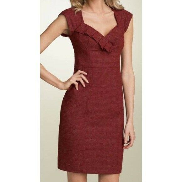 Nanette Lepore Dress Sheath Tweed Cranberry rot Cap Sleeve Ruffled Lined 10 M