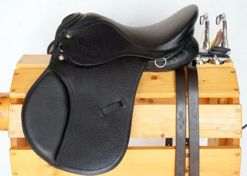 """15/"""" BROWN All Purpose English EVENT JUMP Saddle //Leathers 36/"""" //48/"""" Stirrup Irons"""