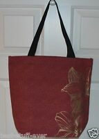 Bath & Body Works Gold Flowers Tote Canvas Bag Purse Shopping Handbag Cute