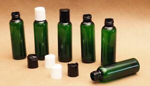 2-Oz-Empty-Plastic-Green-PET-Bottles-with-Dispensing-black-caps-20-PACK