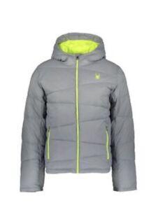 Spyder-Puffer-chaqueta-de-abrigo-para-Hombre-Acolchado-con-Capucha-Luz-Gris-Volt-Amarillo-Pequeno