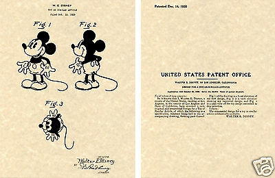 MICKEY MOUSE PATENT Art Print READY TO FRAME!! Walt Disney Cartoon Micky 1930