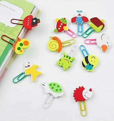 Kawaii Cute Animal Wooden Paper Clips Paperclips Stationery Bookmark Gift x12