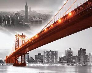 LACKBILD-WANDBILD-FERTIG-BILD-MDF-BILDPLATTE-NEW-YORK-SKYLINE-BROOKLYN-BRIDGE