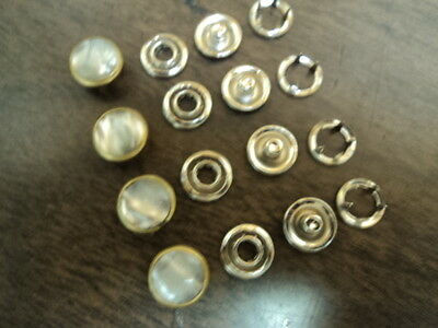 "4-PT POLY PEARL SNAPS-WHITE-GOLD RIM WAVE LOOK-SIZE 18-7//16/""-1 GROSS MADE IN USA"