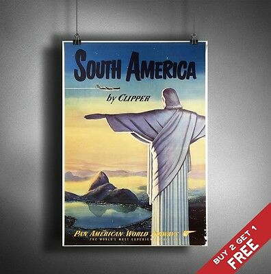 A3 Large SOUTH AMERICA POSTER Vintage Retro Travel Wall Art Home Decor Picture