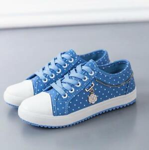 Womens-Flower-Canvas-Casual-Flats-Shoes-Breathable-Lace-Up-Sneakers-Trainers-New