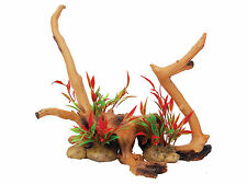 Driftwood with Plants Aquarium Ornament Reptile Vivarium Decoration