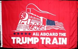All Aboard The Trump Train Red 2020 USA America 4X6 HUGE Flag Rough Tex® 100D