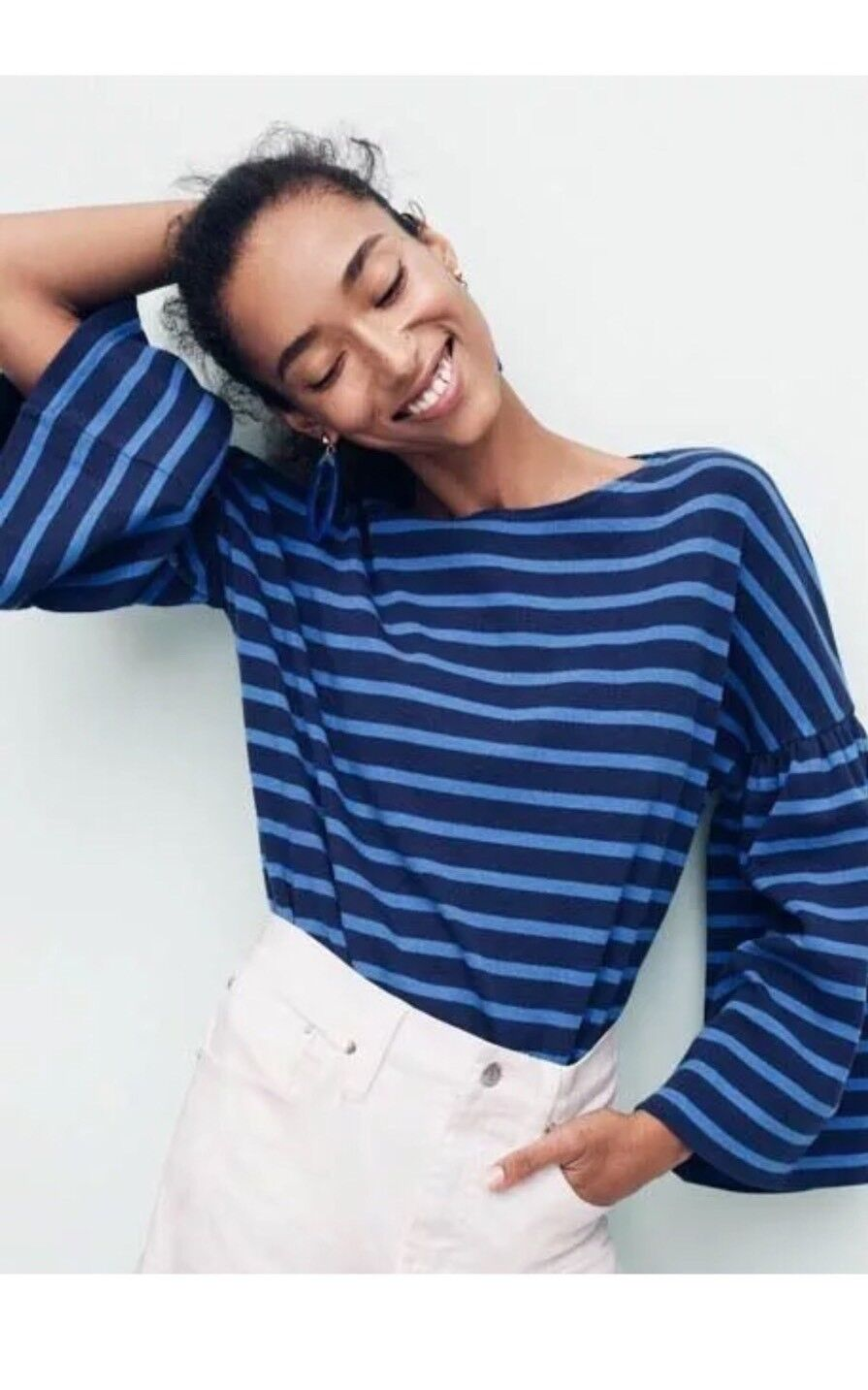 J. CREW  NEW bluee NAUTICAL Striped Cotton Bell Sleeve Knit Top Shirt