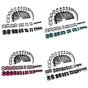 EG-72pcs-Ear-Stretching-Kit-14G-00G-Tapers-Tunnels-Plugs-Piercing-Newly-Popular