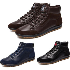 high top men leather casual ankle shoes lightweight