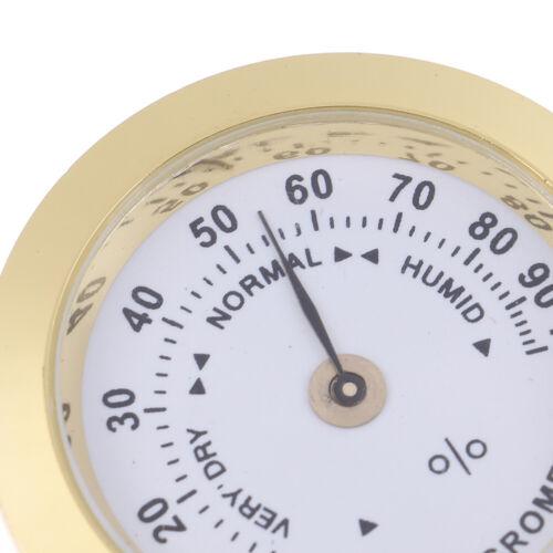 37mm Round Gold Cigar Smoking Measure Hygrometer Humidity Moisturizing