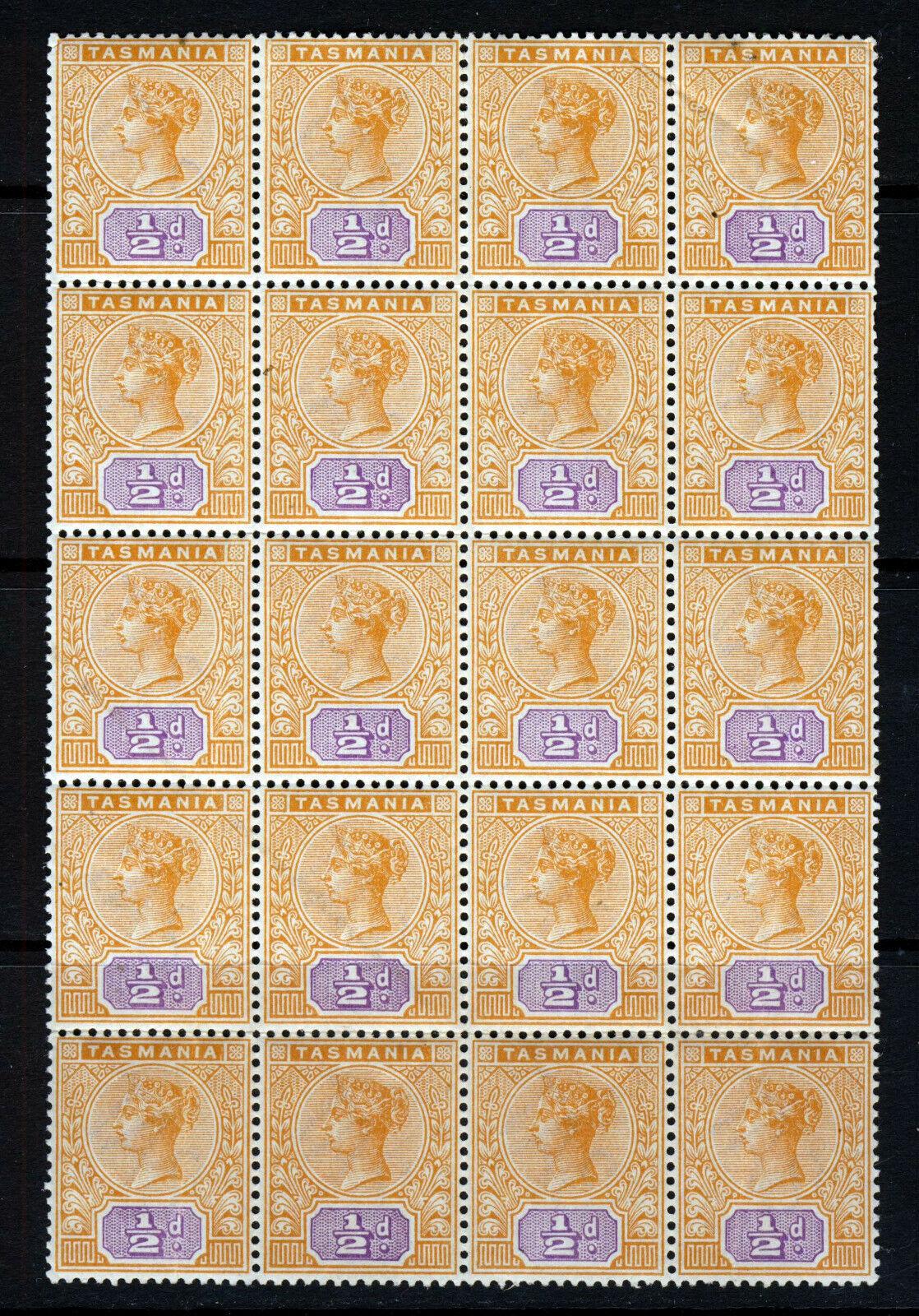 TASMANIA AUSTRALIA QV 1892 ½d. Orange & Mauve BLOCK OF TWENTY SG 216 MNH