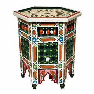 Marokkanischer teetisch orientalischer holz tisch handbemalt beistelltisch sahar ebay for Orientalischer tisch holz