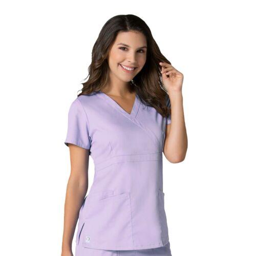 Maevn Scrubs EON Women/'s Medical Back Mesh Panel Mock Wrap Y Neck Top 1748