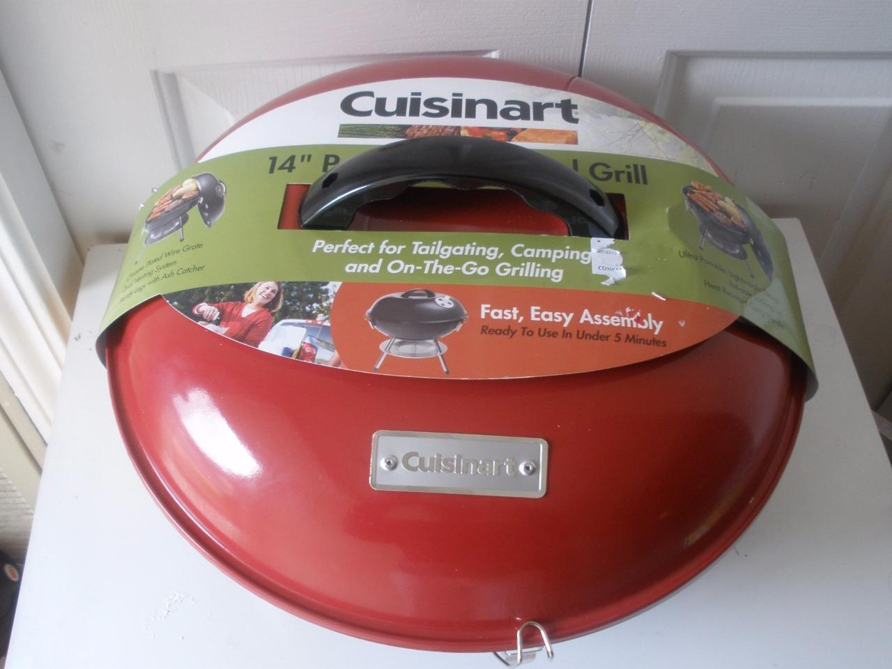 Cuisinart Rojo 14 Pulgadas Portátil Cochebón en el camino al Aire Libre Camping Campestre Parrilla
