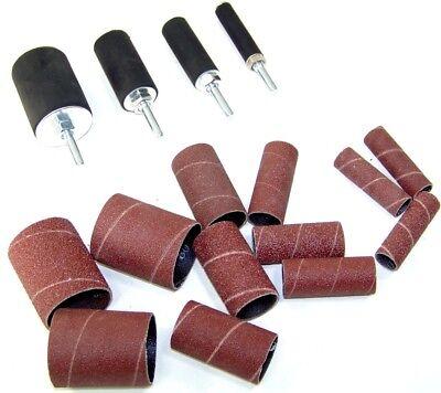 """2"""" Long Sanding Drum Sleeve Set Drill Press Spindle Sander 16 pc Set Sandpaper"""