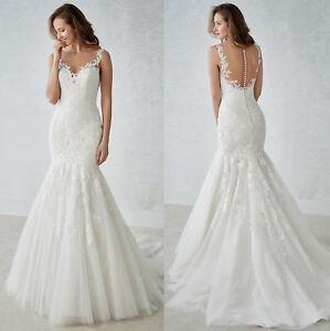 Details About Elegant Lace Wedding Dresses Long Bridal Gown Mermaid Custom Size