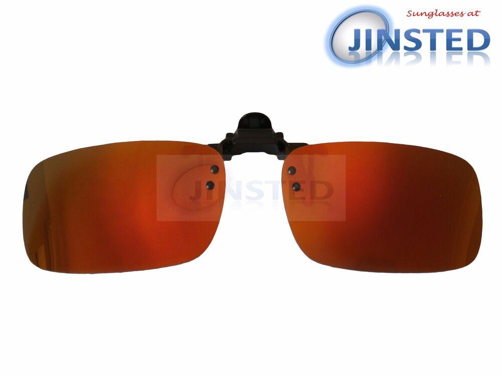 Adroit Haute Qualité Or Rouge Clip Sur Miroir Polarisé à Reflets Lunettes De Soleil Acp035 Sensation Confortable