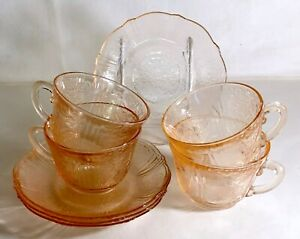 4-MacBeth-Evans-Pink-American-Sweetheart-Cups-And-Saucers