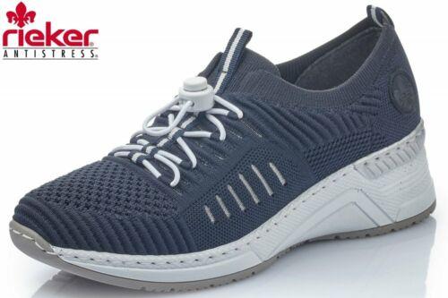 Rieker Damen Sneaker Dunkelblau Slipper Schuhe N4360-14
