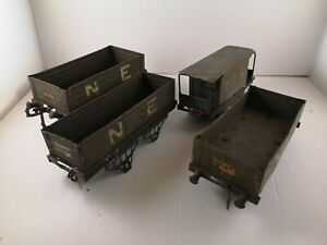 O-Gauge-Hornby-Job-lot-of-tin-plate-Wagons