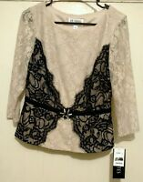 J.r. Nites By Carol Lin 3/4 Sleeve Two Tone Lace Top Size 6