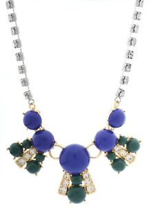 NEW-FOSSIL-SILVER-GOLD-2-TONE-ROYAL-BLUE-GREEN-STONE-CRYSTALS-NECKLACE-JA6274710