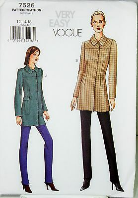 Vogue 7526 Sewing Pattern Jacket and Pants Very Easy SZ 12-14-16 Factory Folded
