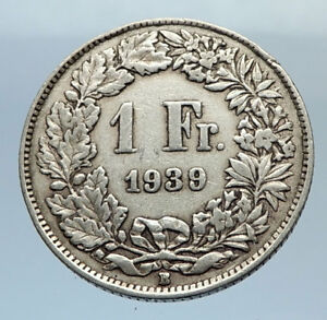 1939-SWITZERLAND-SILVER-1-Franc-Coin-HELVETIA-Symbolizes-SWISS-Nation-i71665