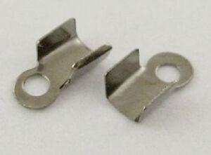 LOT-de-300-EMBOUTS-a-ecraser-plier-6-x-3mm-metal-noir-gris-fonce-perles-bijoux