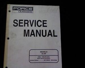 1996 98 Mercury Mariner Force 75 Hp Outboard Motor Workshop Service Manual Book Ebay