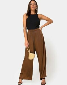 MOTEL-ROCKS-Mara-High-Rise-Trouser-in-Satin-Brown-Medium-M-mr46
