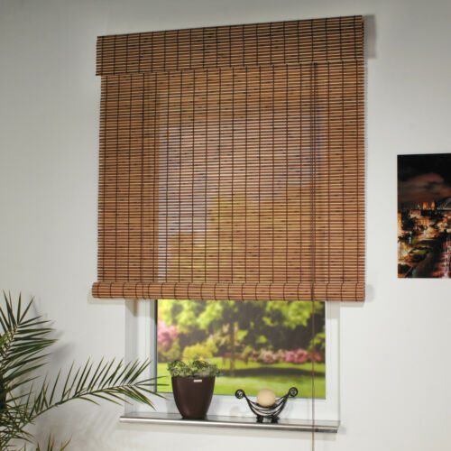 Holz-Rollo Natur Bambus Rollo Sichtschutz Bambus Jalousie Dekoration Schnurzug