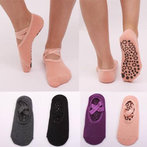 Women Cotton Yoga Gym Toe Ballet Non Slip Massage Barre Pilates Dance Socks LG